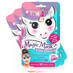 3 db EVELINE MAGIC MASK Cute Unicorn insta effect arctisztító textil arcmaszk