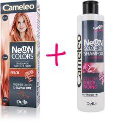 CAMELEO NeON COLORS kimosható hajszínező szőke hajra – barack szín + CAMELEO COLOR-OFF kimosó sampon 200 ml
