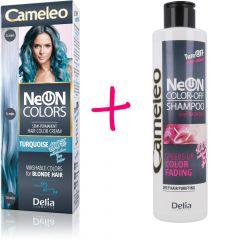 CAMELEO NeON COLORS kimosható hajszínező szőke hajra – türkiz + CAMELEO COLOR-OFF kimosó sampon 200 ml