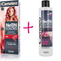 CAMELEO NeON COLORS kimosható hajszínező szőke hajra – vörös + CAMELEO COLOR-OFF kimosó sampon 200 ml