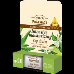 GREEN PHARMACY intenzív hidratáló ajakír aloe és lime 4,8 gr