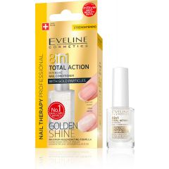 EVELINE NAIL THERAPY GOLDEN SHINE 8in1 multifunkciós körömkondicionáló aranyszemcsékkel 12 ml