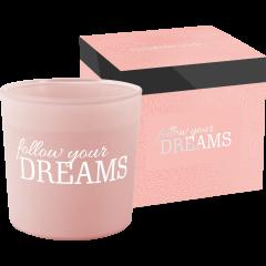 follow your DREAMS - illatgyertya matt üvegben, 2 kanóccal (~40h égési idő)